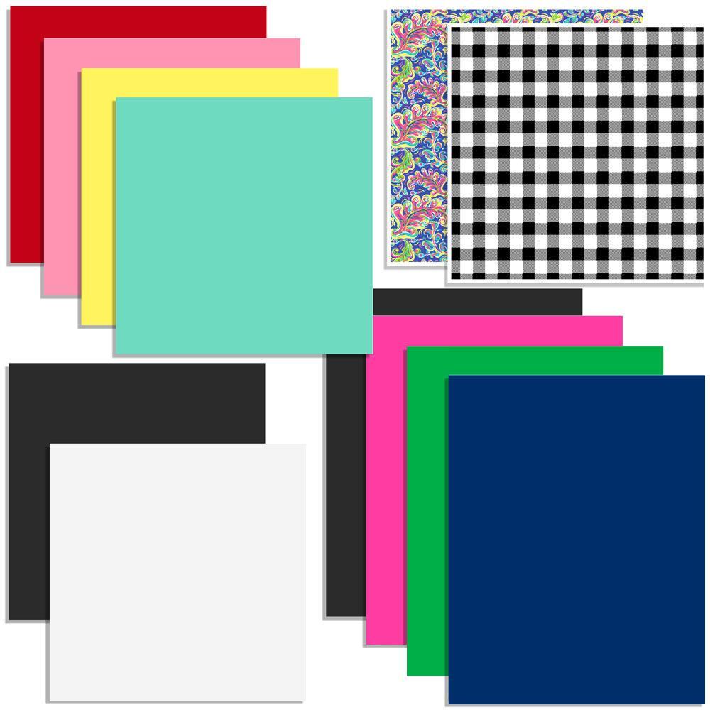 Oracal Vinyl and Siser EasyWeed Heat Transfer Starter Sample Pack - 12 Sheets