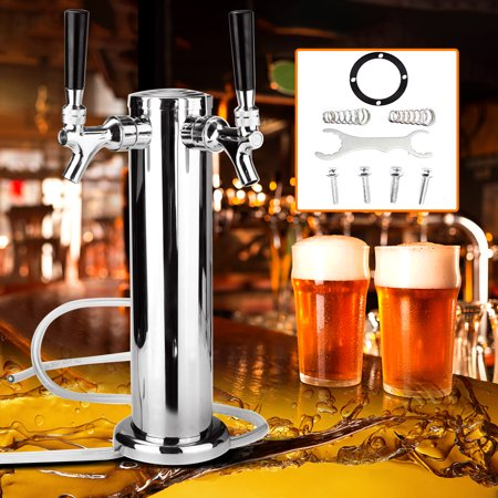 Drinking Vessels Chrome Mirror Beverage dispenser Polished Double Gun Pump Filter Stainless Steel Tower Beer Tap Duel Faucet Draft Dispenser Beverage hine (Picnic Pump Beer Tap)
