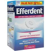 Efferdent Anti-Bacterial Denture Cleanser Tablets 102 ea (Pack of 3)