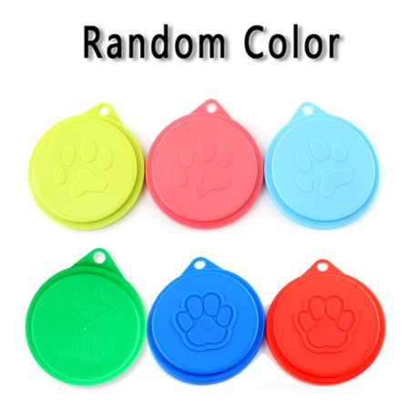 Pet Cat Dog Food Storage Can Cover Lid, Random color, Set of
