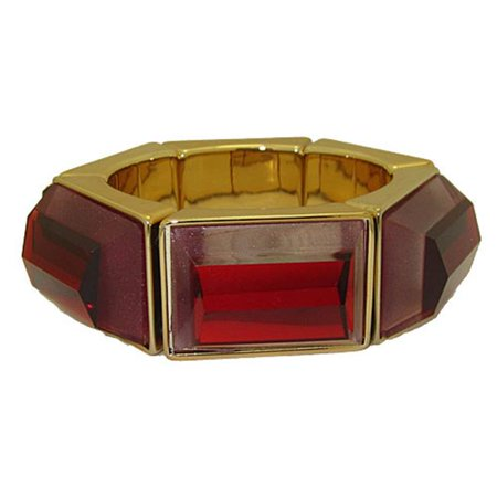 Genuine Coldwater Creek Lucite Bangle Stretch Bracelets, Ruby Red & Gold