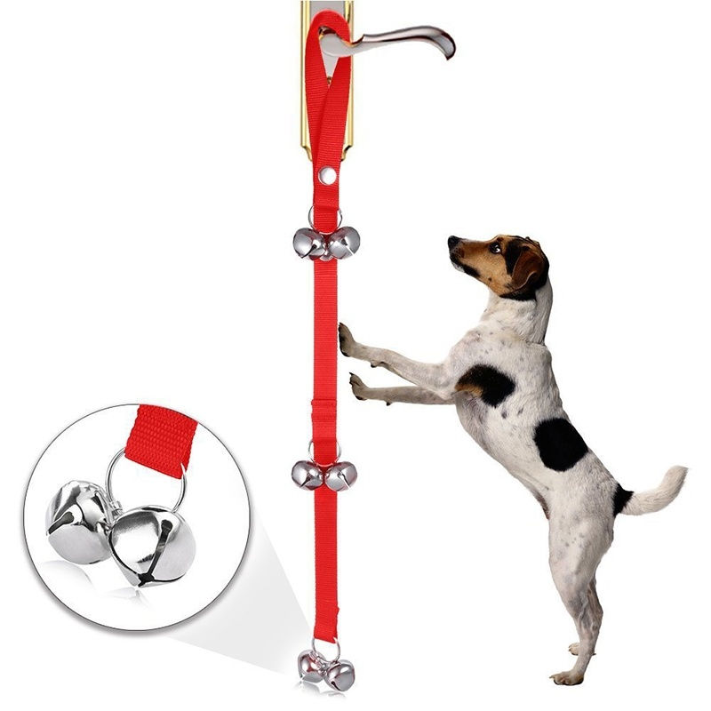 Pet Dog Training Bell Nylon Rope Traction Rope Doorbell Leash Dog Anti-lost Bell with 7 Bells - Red