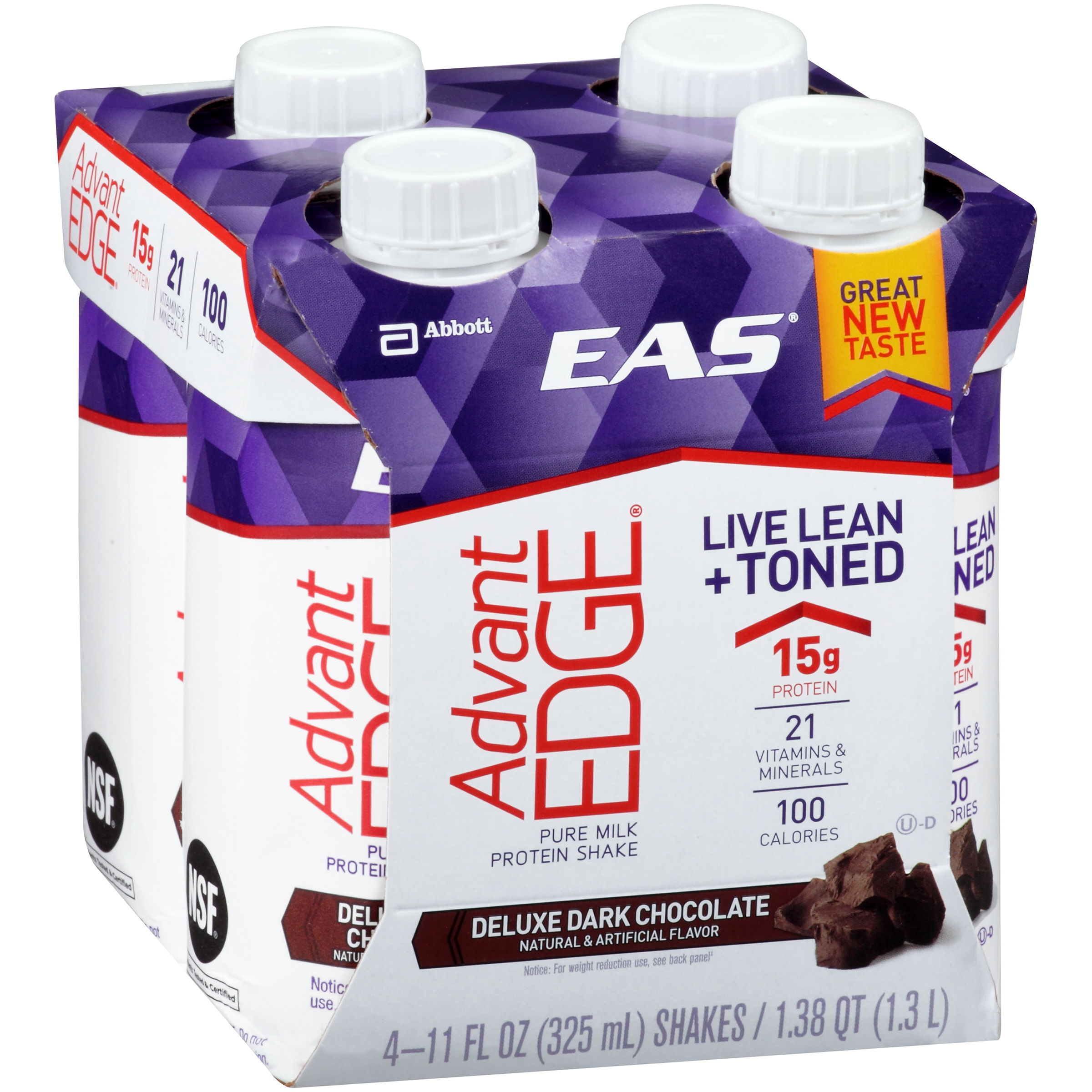 EAS�� AdvantEdge�� Pure Milk Deluxe Dark Chocolate Protein Shake 4-11 fl. oz. Cartons