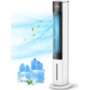 """LifePlus Portable Evaporative Air Cooler 3-In-1 Bladeless Tower Cooling Fan 70° Oscillating 42"""" White"""