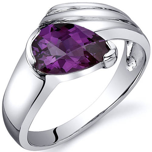 Oravo 1.75 Carat T.G.W. Created Alexandrite Rhodium-Plated Sterling Silver Engagement Ring