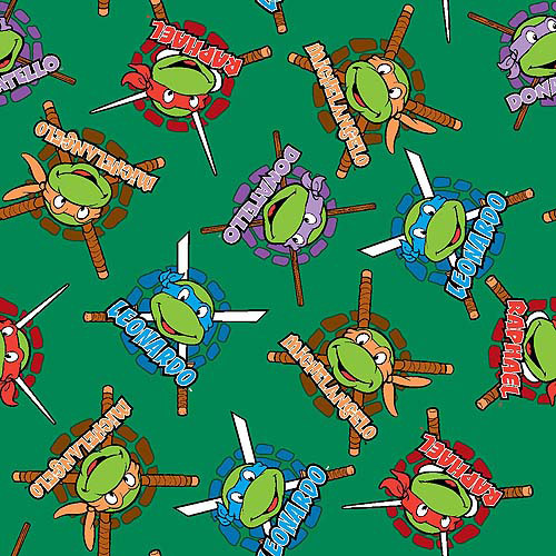 "Nickelodeon Teenage Mutant Ninja Turtles Retro, Heroes in a Half Shell Badge, Minky Fleece, Green, 59/60"" Wide, Fabric by the Yard"