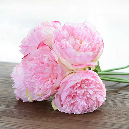 European-style artificial flower hand tied five branch peony wedding hand-held floral fake flower living room indoor shopping mall (Allen Mall Outlet)