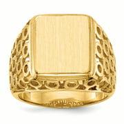 14K Yellow Gold 13.3 MM Men's Rectangle Engravable Signet Ring, Size 10