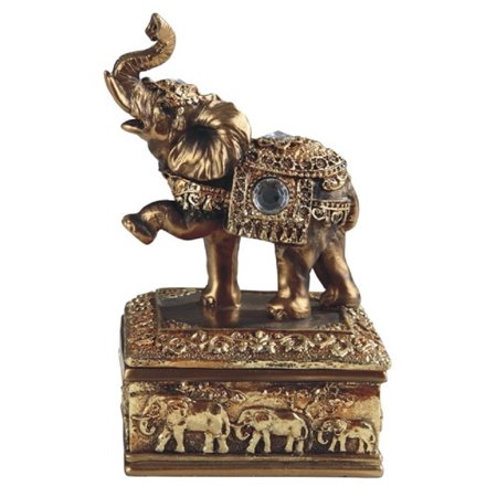 Crystal Elephant Trinket Box - Golden Thai Elephant Jewelry Trinket Box Animal Container Decoration New