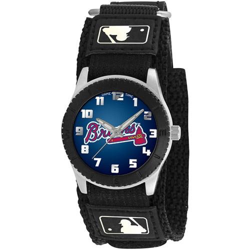 Game Time MLB Kids' Atlanta Braves Rookie Series Watch, Black Velcro Strap by Generic