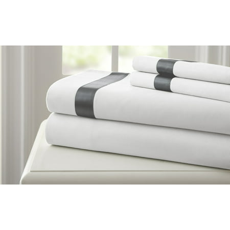 - 400 Thread Count 100% Cotton 4 pc sheet set with satin band White/Gray Full
