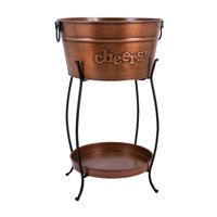 Trisha Yearwood Persimmon Beverage Tub with Tray and Stand