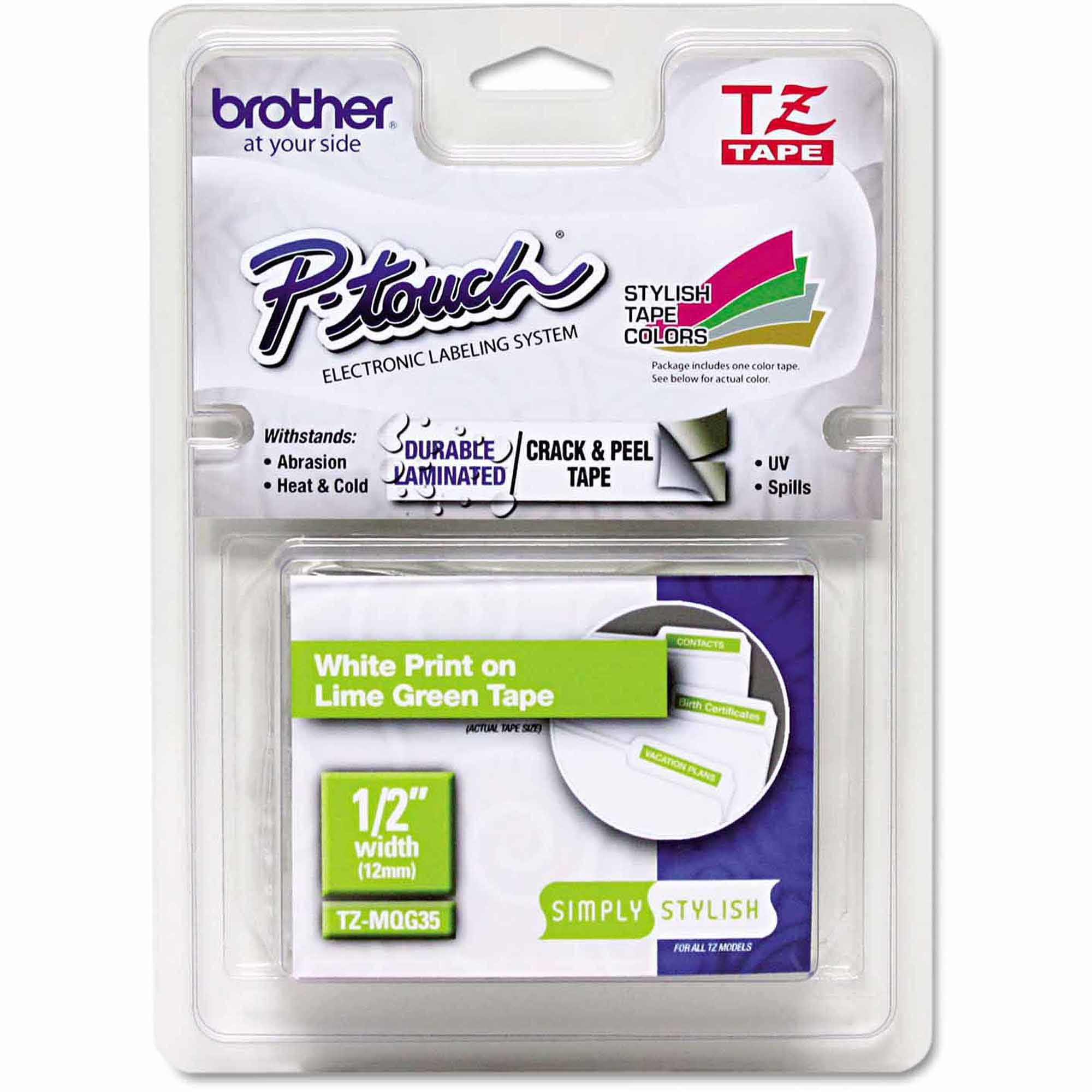 "Brother P-Touch TZ Standard Adhesive Laminated Labeling Tape, 1/2"" x 16.4', White/Lime Green"