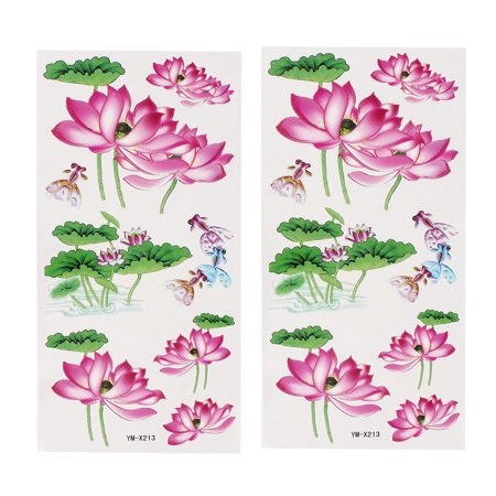 Unique Bargains 2 Sheets  Goldfish Pattern Paper Sticker Temporary Tattoos Green Pink - Pink Tattoos