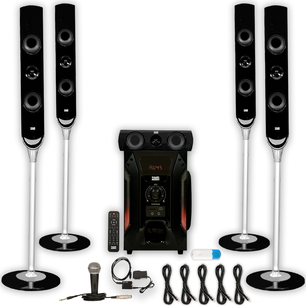 Acoustic Audio AAT1000 Tower 5.1 Speakers with USB Bluetooth Optical Input Mic and 5 Extension Cables