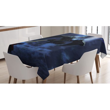 Galaxy Tablecloth, A Lighter and Spaceship Blasts a Laser Beam an Enemy Battleship Galaxy Wars Pattern, Rectangular Table Cover for Dining Room Kitchen, 60 X 84 Inches, Blue Black, by Ambesonne