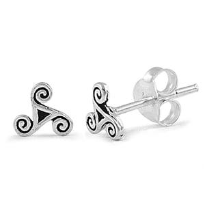 Sterling Silver Triskele Post Earrings (Sterling Silver Triskele)