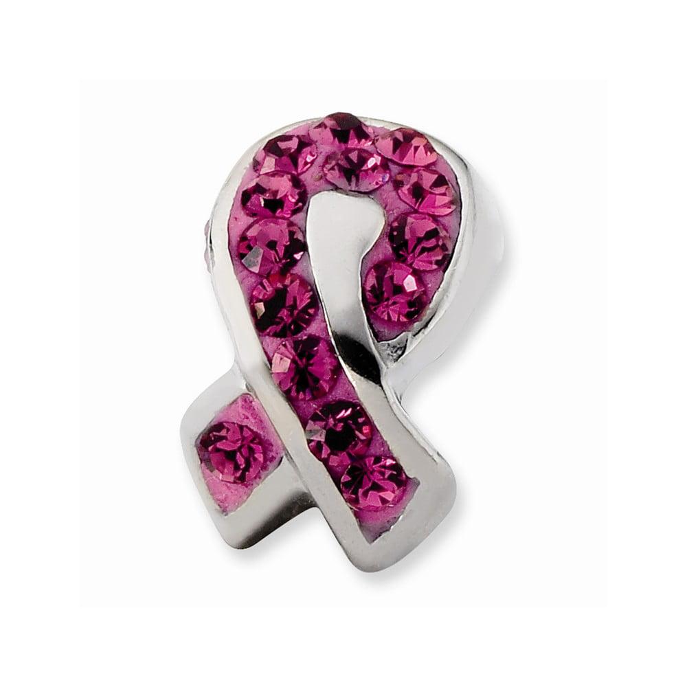Sterling Silver Pink Crystal Awareness Ribbon Bead