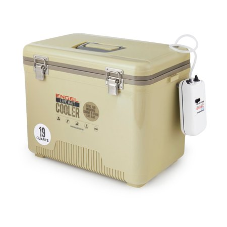 Ht Ice Fishing Gear - Engel 19 Quart Insulated Live Bait Fishing Dry Box Cooler With Water Pump, Tan