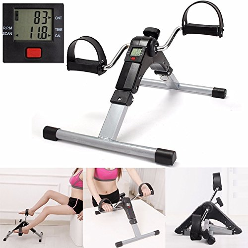 Foot Pedal Exerciser, Portable Bike Pedal Exerciser, Mini Cycle Pedal Exerciser, Folding Fitness Cycle Leg Machine With Digital LED Screen Display