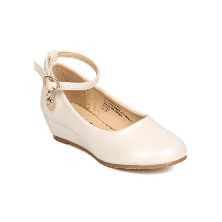 New Girl Little Angel Sophie-872D PU Danging Charm Ankle Strap Wedge Pump - Toms Ivory Wedges