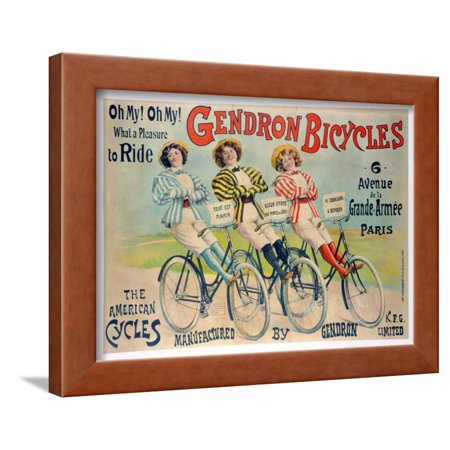 - Poster Advertising Gendron Bicycles, Published by Chambrelent, Paris Framed Print Wall Art