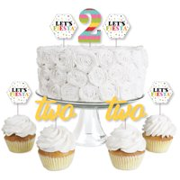2nd Birthday Let's Fiesta - Dessert Cupcake Toppers - Mexican Fiesta Second Birthday Party Clear Treat Picks - Set of 24