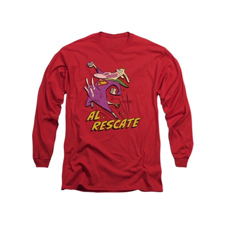 Cow And Chicken Cartoon Network Series Supercow Al Rescate Adult L-Sleeve TShirt