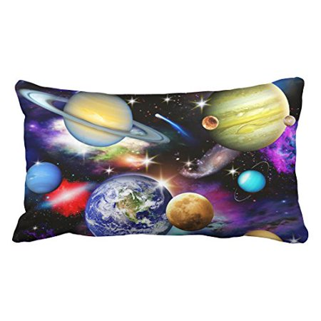 WinHome Decorative Universe Solar System Planets Earth Galaxy Nebula Print Pillow Case Pillow Inner Included Soft Bedding New Fashion Size 20x30 inches Two Side