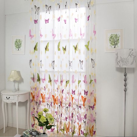 New Butterfly Window Curtain Large Flower Print Screens ()
