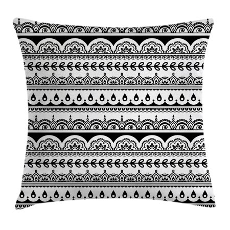 Tribal Throw Pillow Cushion Cover, Ethnic Borders with Leaves Florals Flowers Ivy Swirls Indian Inspired Art Image, Decorative Square Accent Pillow Case, 20 X 20 Inches, Black and White, by - Tribal Flowers