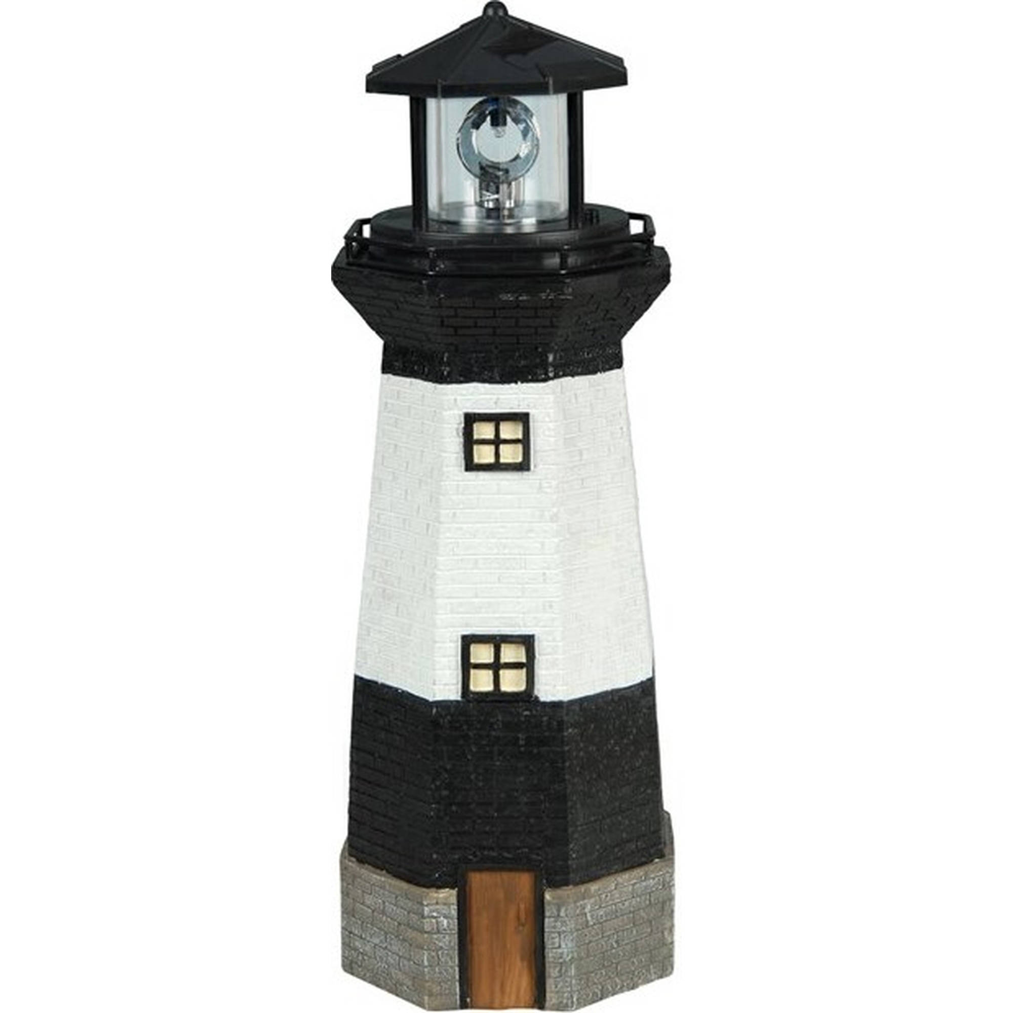 Solar powered led black and striped lighthouse white walmart com