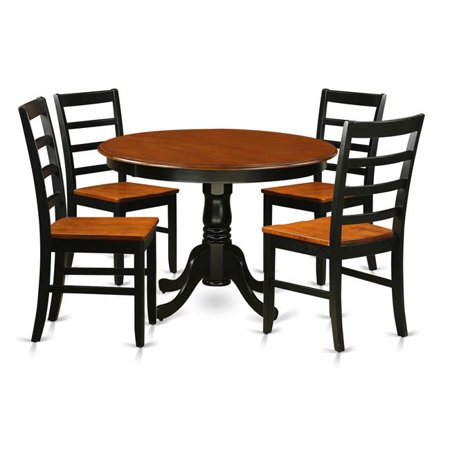 East West Furniture HLPF5-BCH-W Wood Seat Dining Set - One Round Table & 4 Chairs with Faux Leather Seat, Black & Cherry - 36 in. - 5 (5 Black Leather)