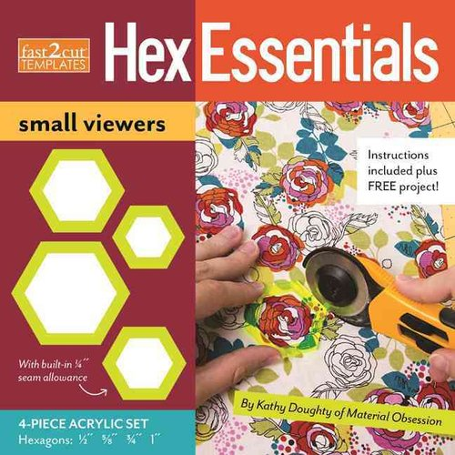 Fast2Cut Templates HexEssentials Small Viewers: 4-Piece Acrylic Hexagon Template Set: 1/2'', 5/8'', 3/4'' and 1''