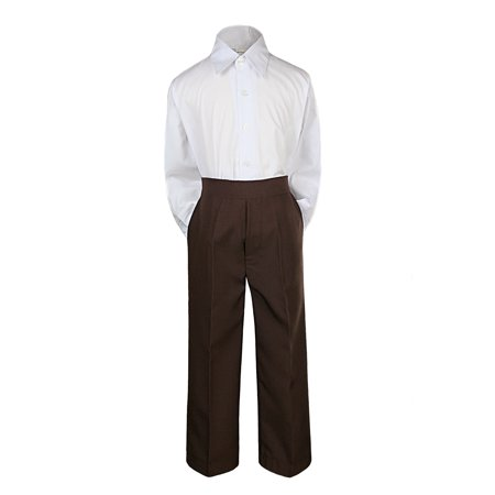 2pc Baby Boy Kid Teen Formal Party Tuxedo Suit Dress Shirt w/ Color Pants Sm-20 (Small, Brown)