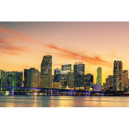 Famous City of Miami, Summer Sunset Print Wall Art By (Best Sunset In Miami)