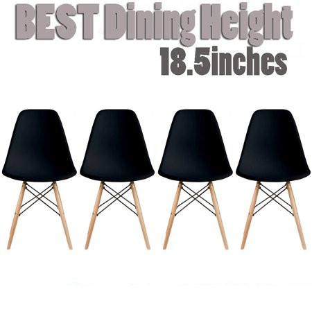 Designer Wood Earrings - 2xhome Set of 4 Black Mid Country Modern Molded Shell Designer Assemble Plastic Chair Side No Arms Wheels Armless Chairs Natural Wood Wooden Eiffel for Dining Room Bedroom Kitchen Accent Office DSW