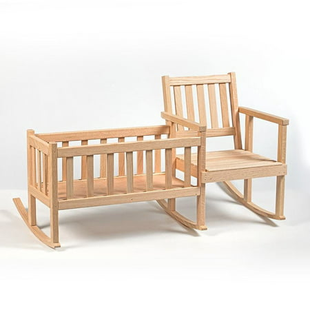 Handcrafted Eli & Mattie Amish-Made Rocker and Cradle for Children and 18