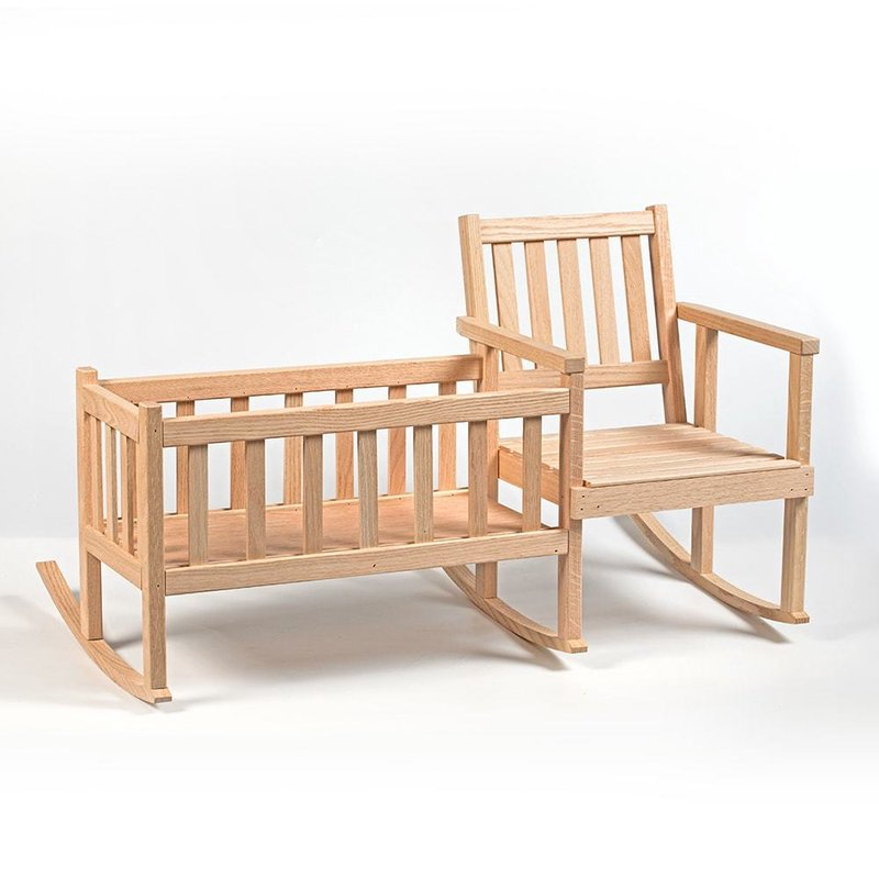 "Handcrafted Eli & Mattie Amish-Made Rocker and Cradle for Children and 18"" Dolls"