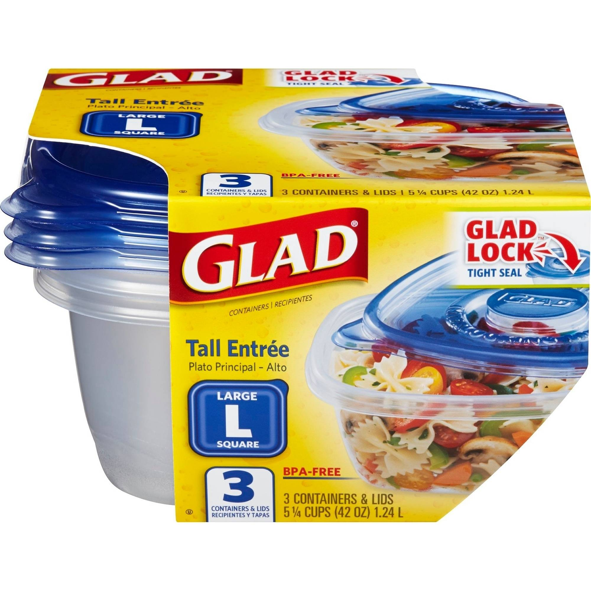 GladWare Tall Entr??e Food Storage Containers, 42 Ounces, 3 Count, BPA Free