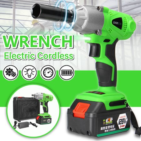Cordless Handheld Impact Wrench 128VF 0-2500 RPM 16800mAh 1/2'' Cordless Electric Impact Wrench Non-slip More (Best Electric Impact Wrench)