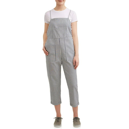 Juniors' Striped Cropped (Oversized Striped Overalls)