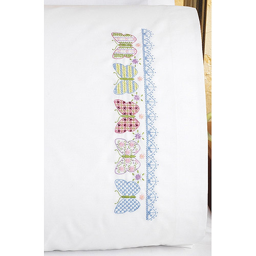 Janlynn Butterfly Stamped Cross Stitch Pillowcase Pair