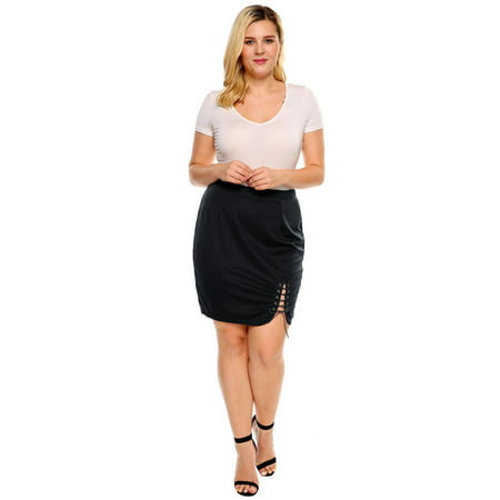Women Solid Criss Cross Lace Up Stretch Split Skirt -