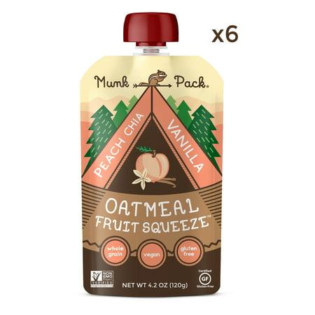 (6 Pouches) Munk Pack Oatmeal Fruit Squeeze, Peach Chia Vanilla, 4.2 Oz Pouch