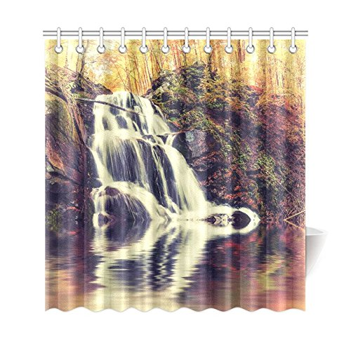 GCKG Vintage Autumn Landscape Shower Curtain Waterfall And Lake Scene Polyester Fabric Bathroom Sets With Hooks 66x72 Inches