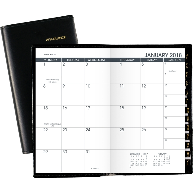 "At-A-Glance Deluxe Monthly Pocket Planner - Monthly - 1.1 Year - January 2018 till January 2019 - 1 Month Double Page Layout - 3.50"" x 6.13"" - Black - Simulated Leather - Pocket, Refillable, Phone Dir"