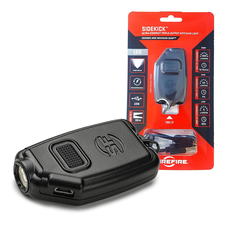 SureFire Sidekick Ultra-Compact Triple-Output Keychain Light 300-Lumen - Black