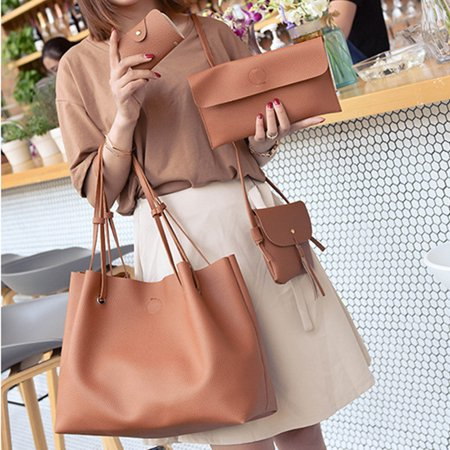 4pcs PU Leather Shoulder Messenger Bag Tote Bag Wallet Purse Card Holder for Lady Christmas New Year Birthday Gift