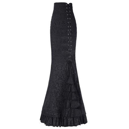 Women Punk Style Retro Mermaid Skirt Vintage Long Bodycon Ruffle Fishtail -